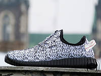 Кроссовки мужские для бега Adidas Yeezy Boost 350 white-black (реплика), фото 1