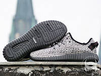 Кроссовки мужские для бега Adidas Yeezy Boost 350 grey-black (реплика), фото 1