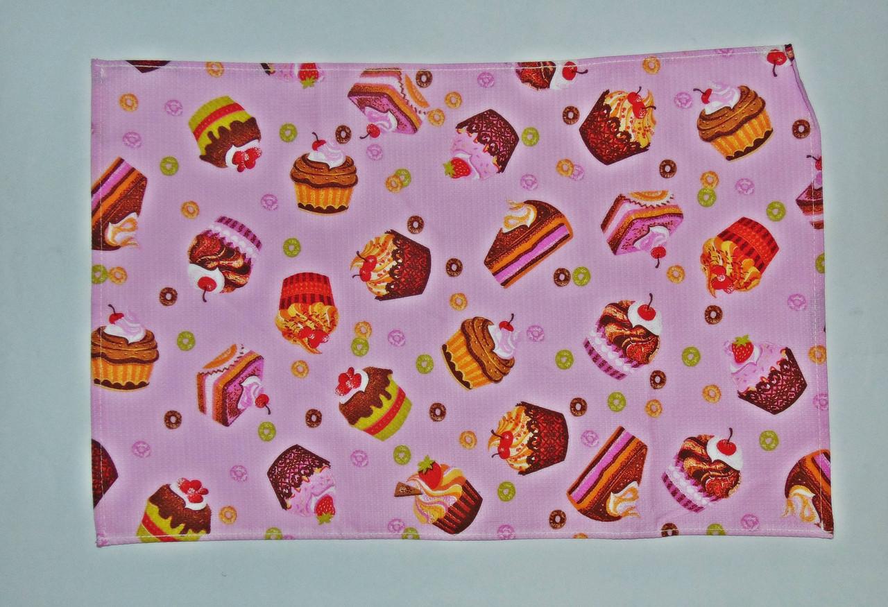 """Кухонное вафельное полотенце """"тортики"""" розовое 55х35см"""