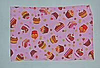 """Кухонное вафельное полотенце """"тортики"""" розовое 55х35см, фото 1"""