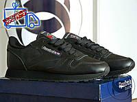 Кроссовки женские низкие черные Reebook Classic Full Black Leather new (реплика), фото 1