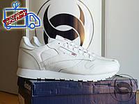 Кроссовки мужские низкие белые Reebook Classic White Leather (реплика), фото 1