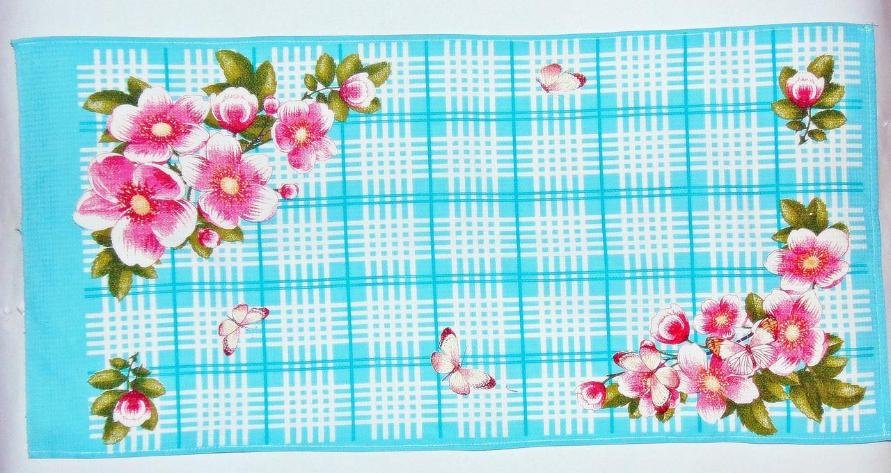 "Кухонне вафельний рушник ""Метелики блакитне"" 75х35см"