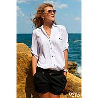 Женская классическая рубашка с элементами спортивного стиля -9215