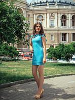 Облегающее голубое платье с рукавами воланами - 428_голубой