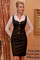 """Нарядная классическая блузка из тонкого """"Поплина""""-9322"""
