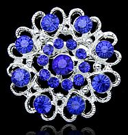 Женская брошка Романтика синяя