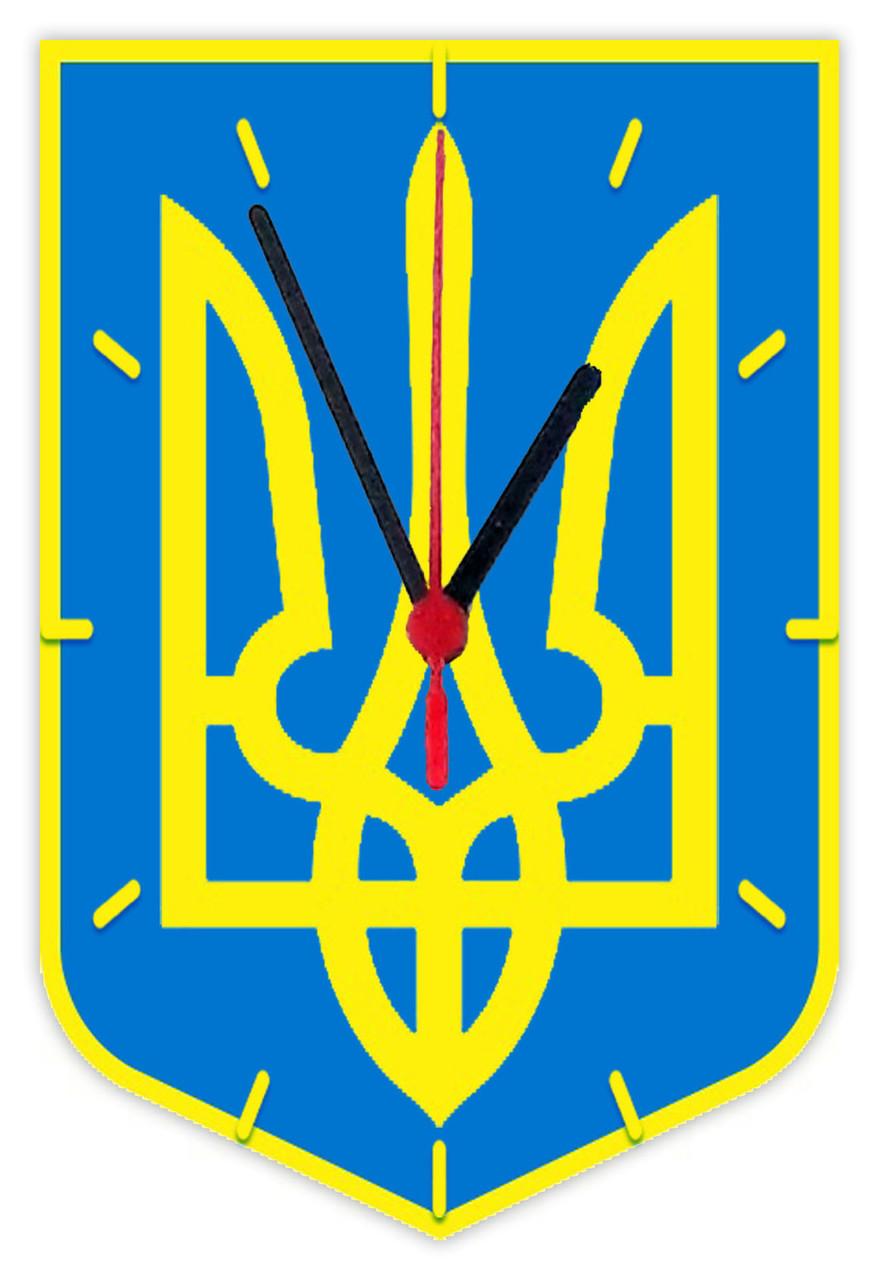 """Часы настенные Герб Украины """"Тризуб""""  стеклянные"""
