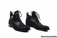 Ботинки женские сатиновые Aquamarine (ботильоны комфорт, стильные, черные, кожа, Турция)