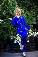 Женский костюм двойка куртка+ штаны электрик жаккард + кожа 204/01 АП
