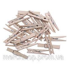 Декоративные мини прищепки деревянного(древесного) цвета, Craft, клип, декор (50 шт.), 2,5 см