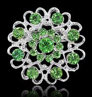 Женская брошка Романтика зеленая