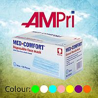 Маска  для лица 3-слойная с ушными петлями (50 шт/уп), AMPri