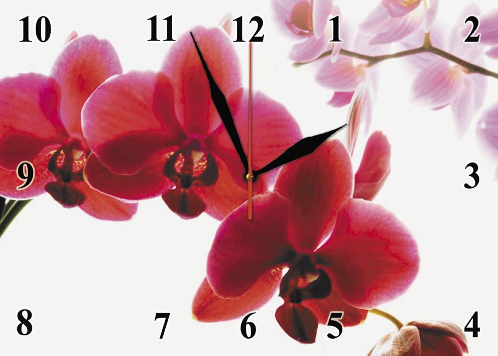 """Часы настенные стеклянные """"Красная орхидея"""""""
