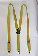 """Подтяжка женская полосатая салатовый-оранжевый (25 мм Y) """"Remen"""" LM-638"""