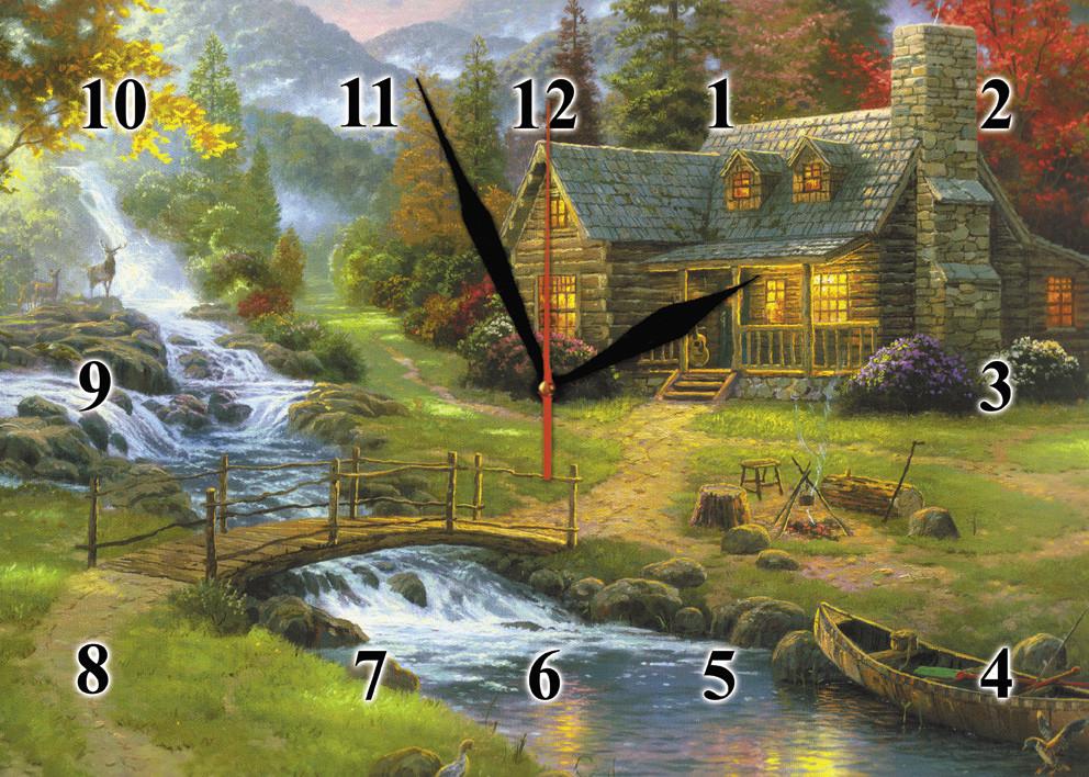 """Часы настенные стеклянные """"Охотничий дом"""""""