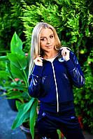 Женский костюм двойка куртка+ штаны темно синий жаккард + кожа 204/02 АП