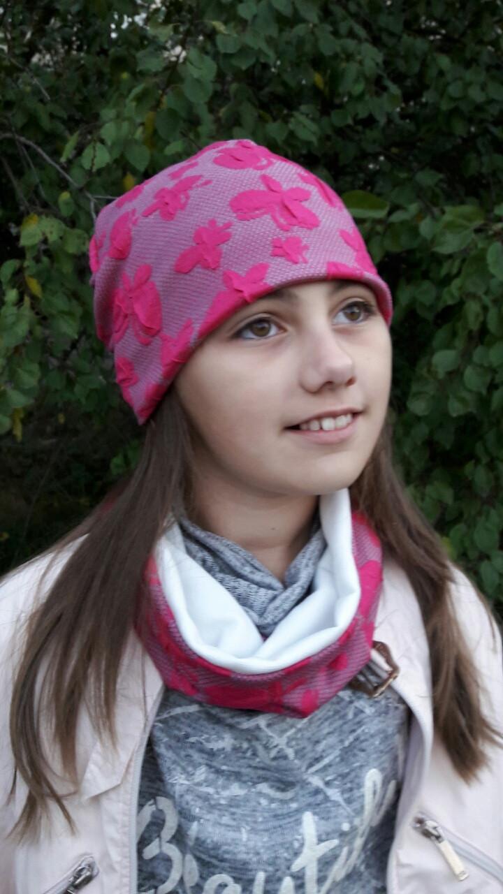 Стильный комлект шапка и хомут для девочки