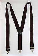 """Подтяжка мужская однотонная тёмно-коричневая (35 мм Y) """"Remen"""" LM-638"""