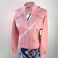 Куртка КОЖА PU pink, р.44, фото 1