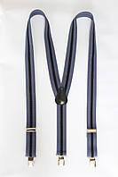 """Подтяжка мужская в полоску синий-чёрный (30 мм Y) """"Remen"""" LM-638"""