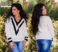 Свитер женский большого размера, ткань марс, цвет бордо и белый, производство Турция дг №2037