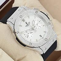 Механические часы HUBLOT - Geneve  кварцевый хронограф, каучуковый черный ремешок, сапфировое стекло, AAA