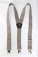 """Подтяжка мужская однотонная серая (40 мм Y) """"Remen"""" LM-638"""