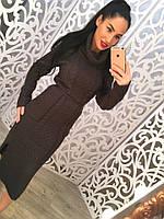 Платье плотная вязка с воротником 892