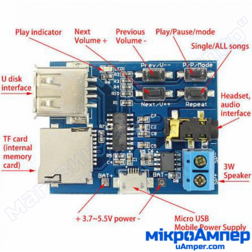 GPD2856A TF Card MP3 Decoder Board