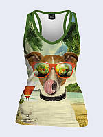 Майка-борцовка Собака на пляже