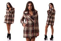 """Женское стильное короткое пальто 0082 """"Кашемир - Шерсть Клетка"""""""