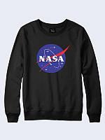 Модный женский свитшот/реглан NASA black с оригинальным принтом.
