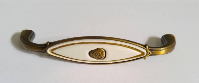 Ручка скоба AMUP-018-96-AE античная бронза с керамикой 96 мм, фото 1
