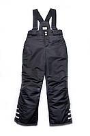Детские зимние брюки на бретелях для мальчика (черный)