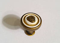 Ручка кнопка AMGP-018-AE античная бронза с керамикой, фото 1