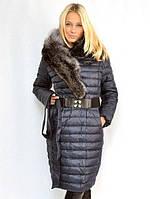 Куртка с меховым воротником и потайной застежкой