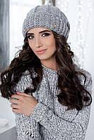 Женская модная утеплёная Шапка (30% шерсть альпака, 30% шерсть мериноса, 30% акрил, 10% эластан) / Берет 4300