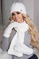 Шапка осенняя женская + шарф+руковички (Комплект белый) / 4325-16