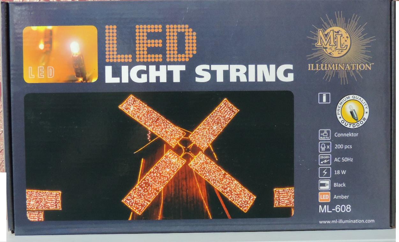 Гирлянда LED 200 ламп - 20 метров. Иллюминация уличная и внутри помещения. Цвет янтарный.