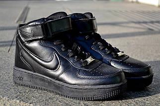Кроссовки Nike Air Force высокие, черные, кожаные , фото 2