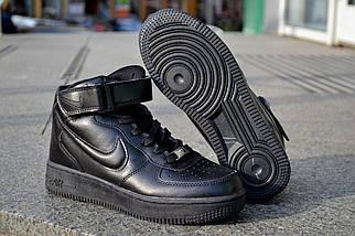 Кроссовки Nike Air Force высокие, черные, кожаные , фото 3