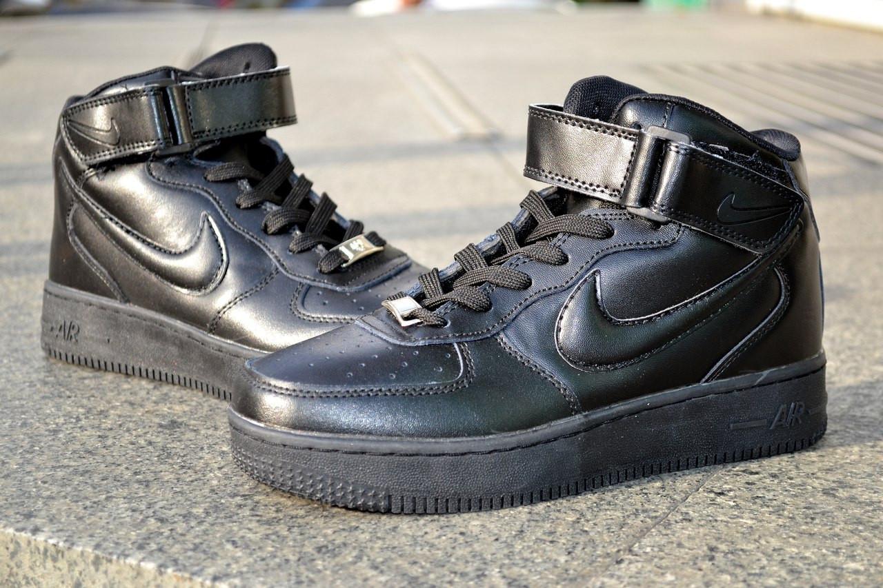 Кроссовки Nike Air Force высокие, черные, кожаные