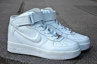 Кроссовки Nike Air Force высокие, белые, фото 2