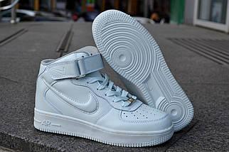 Кроссовки Nike Air Force высокие, белые, фото 3