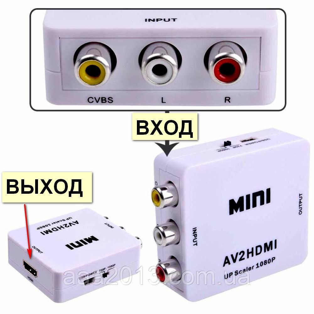 Конвертер из AV (тюльпан) в HDMI, переходник адаптер TV преобразователь