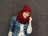 Бордовый шарф снуд из мягкой шерсти