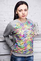 Ariona Свитшот женский серый с принтом 3D с сеткой
