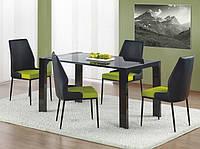 Стеклянный черный стол Halmar Kent с лакированной опорой
