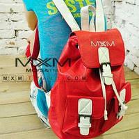 Рюкзак кожа, белый с красным
